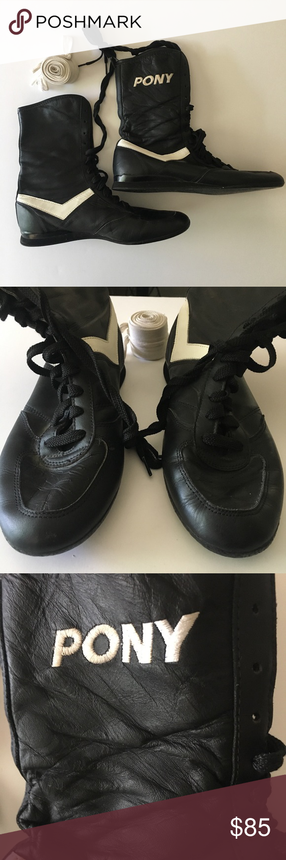 Pony Mens Black Boxing Boots Chevron Vintage 105 Pre Owned