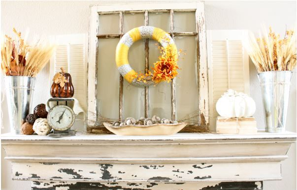 """You can't go wrong with a : <span style=""""text-decoration: underline;""""><strong><a href=""""http://decorchick.com/fall-mantel-decor/"""">Distressed window on your Fall Mantel</a></strong></span>"""