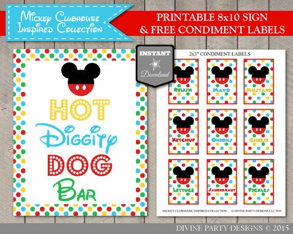graphic regarding Hot Diggity Dog Bar Free Printable identified as Immediate Obtain Mouse Clubhouse 5x7 and 8x10 Incredibly hot Diggity