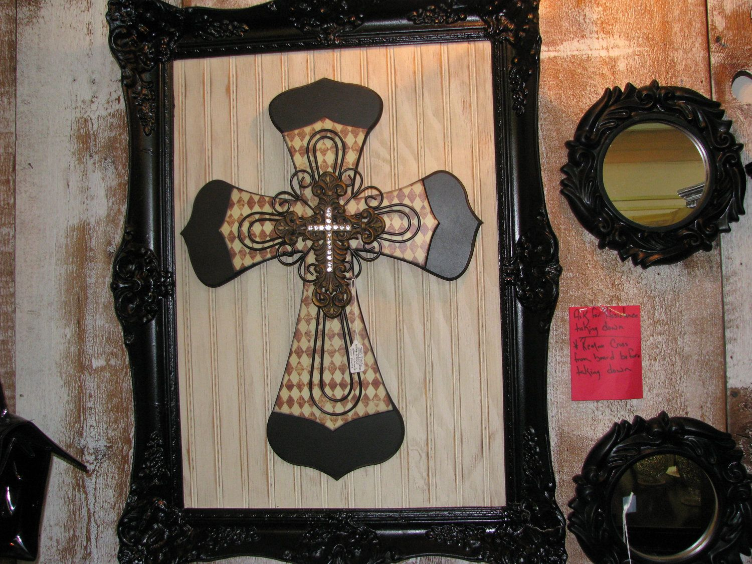 Shabby Chic, Rustic, Faith, Home Decor Cross Framed Art. $125.00, Via