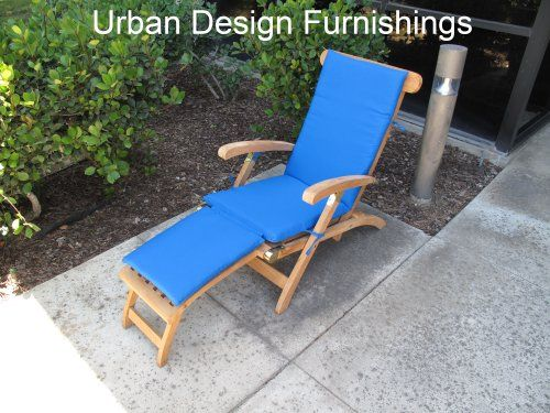 Made In USA Outdoor Sunbrella Canvas Pacific Blue 5401 Steamer Chair  Replacement Cushion Pad **