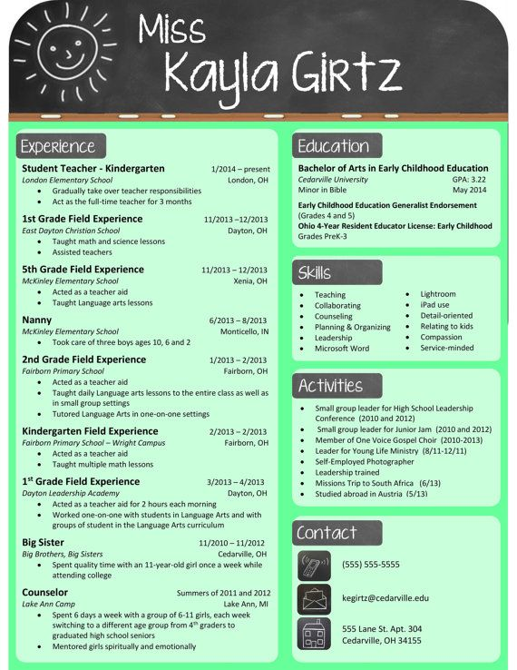 Pin by Keelee Moseley on resumes | Elementary teacher resume ...