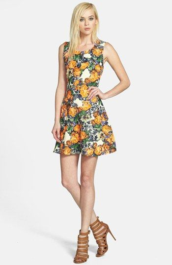 JOA Cage Back Floral Fit & Flare Dress available at #Nordstrom