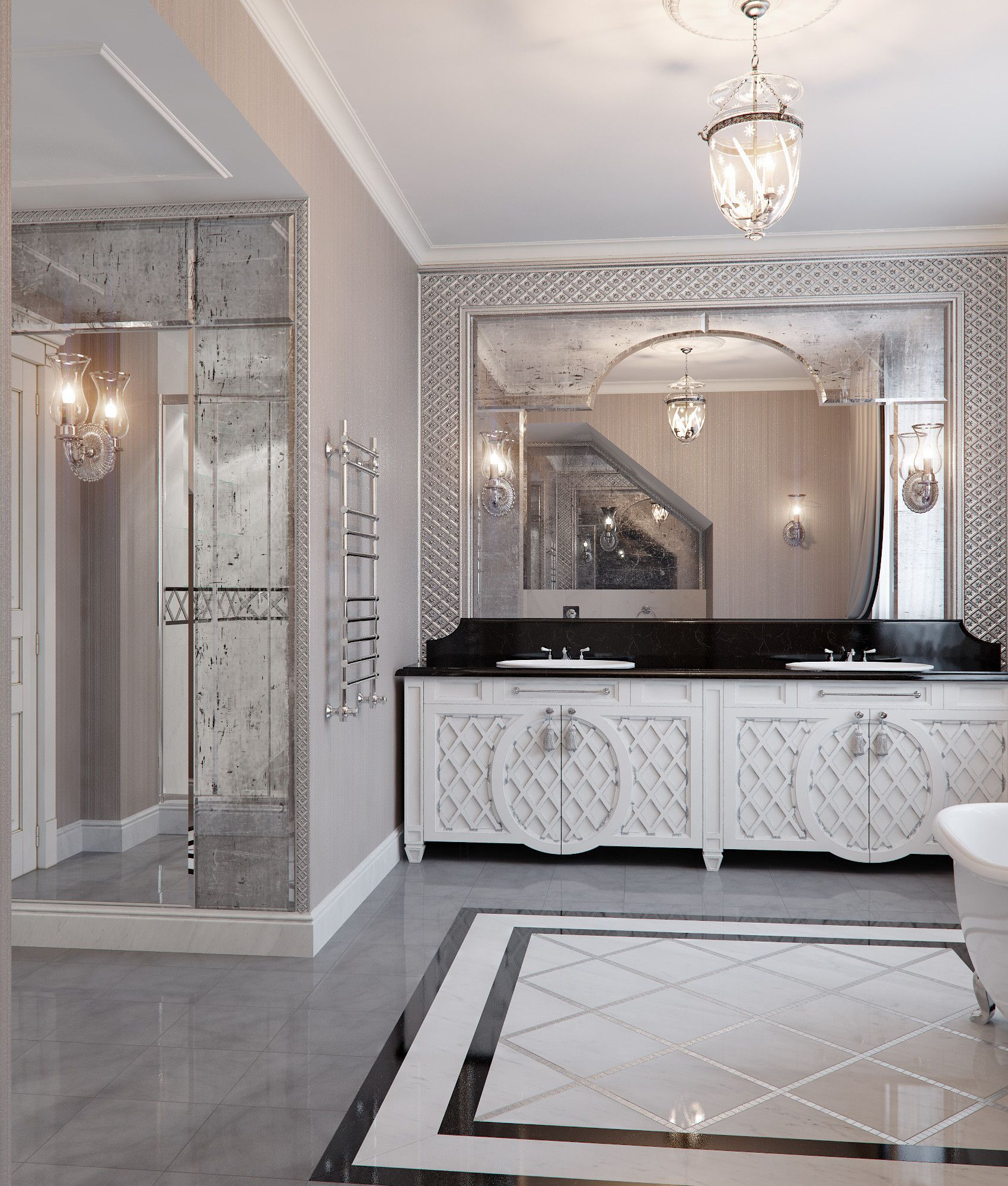 Entspannendes badezimmerdekor art deco scene bathroom d max  bad  pinterest