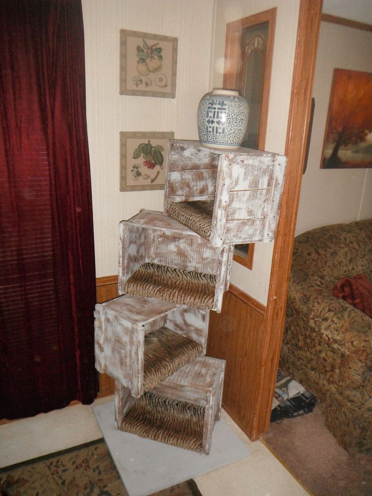 Cat tree with crates diy cat tree old wooden crates