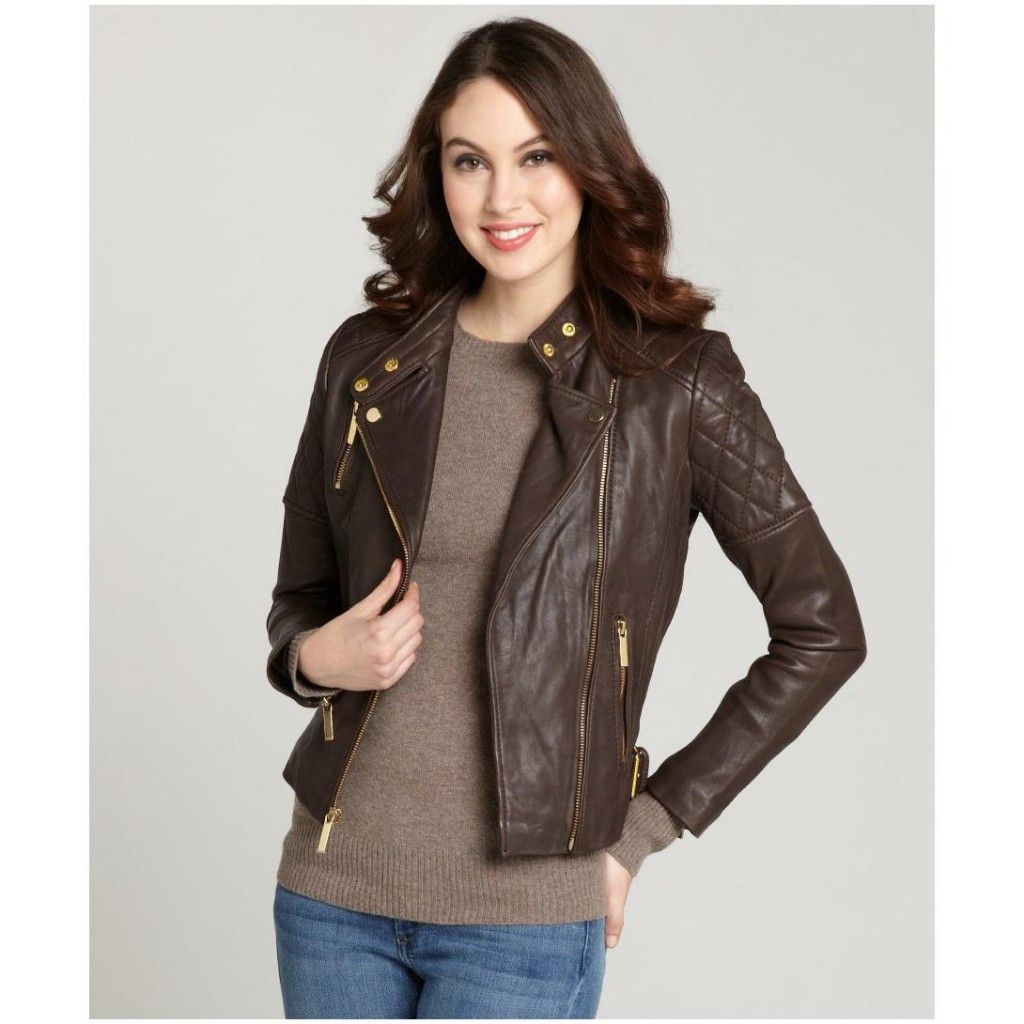 Women S Chocolate Brown Quilted Shoulder Moto Leather Jacket ...