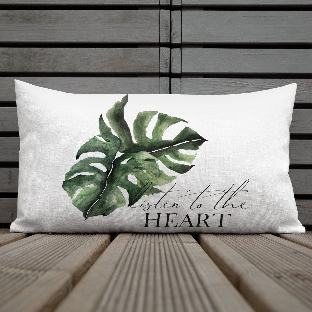 Monstera pillow, monstera cushion, wedding gift, personalized engagement pillow, custom pillows, personalized wedding gift for couple