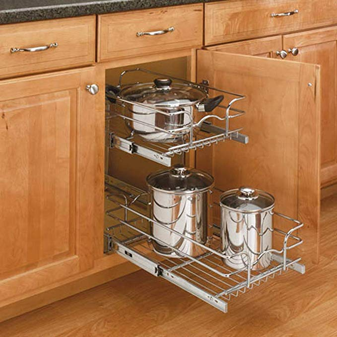 Amazon Com Rev A Shelf 5wb2 0918 Cr Base Cabinet Pullout 2 Tier Wire Basket Reduced Depth Sink Base Acc In 2020 New Kitchen Cabinets Kitchen Renovation New Kitchen