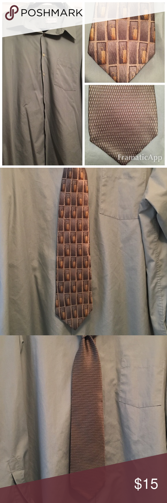Light green dress shirt with matching ties. Great buy, two looks - one deal. XXL dress shirt (18 34/35) Shirts Dress Shirts