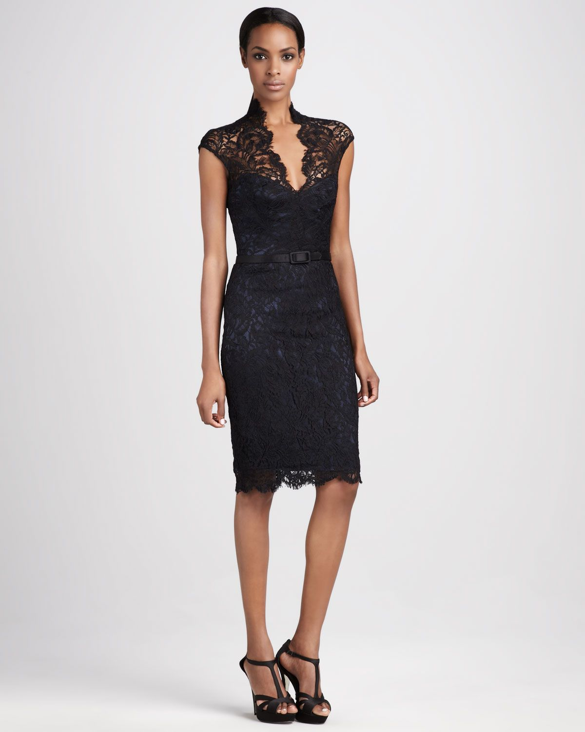Theia Lace Cocktail Dress in Black | Lyst | Cocktail Dress ...