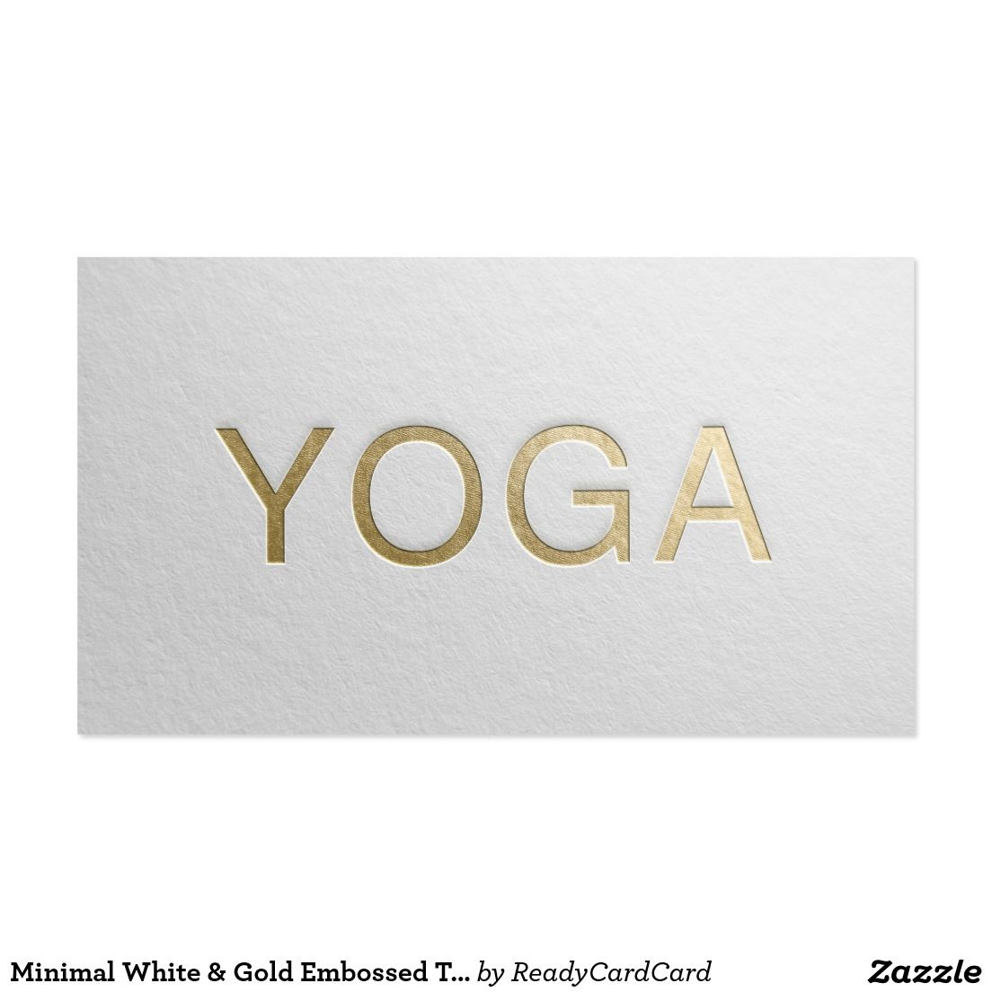 Minimal White Gold Embossed Text Yoga Instructor Business