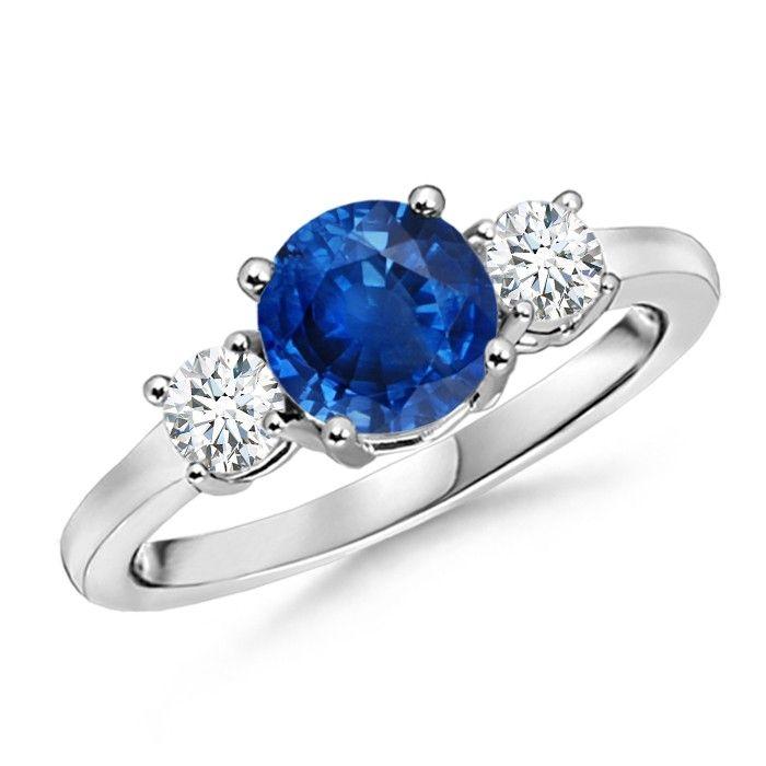 Angara Airline Ruby and Diamond Three Stone Engagement Ring in Yellow Gold aezH2C