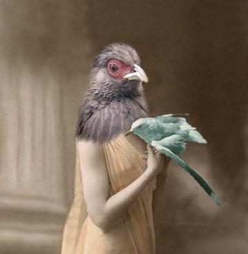 Henifer - Vintage Chicken 5x7 Print - Anthropomorphic - Altered Photo - Animal Print - Collage Art - Photo Collage