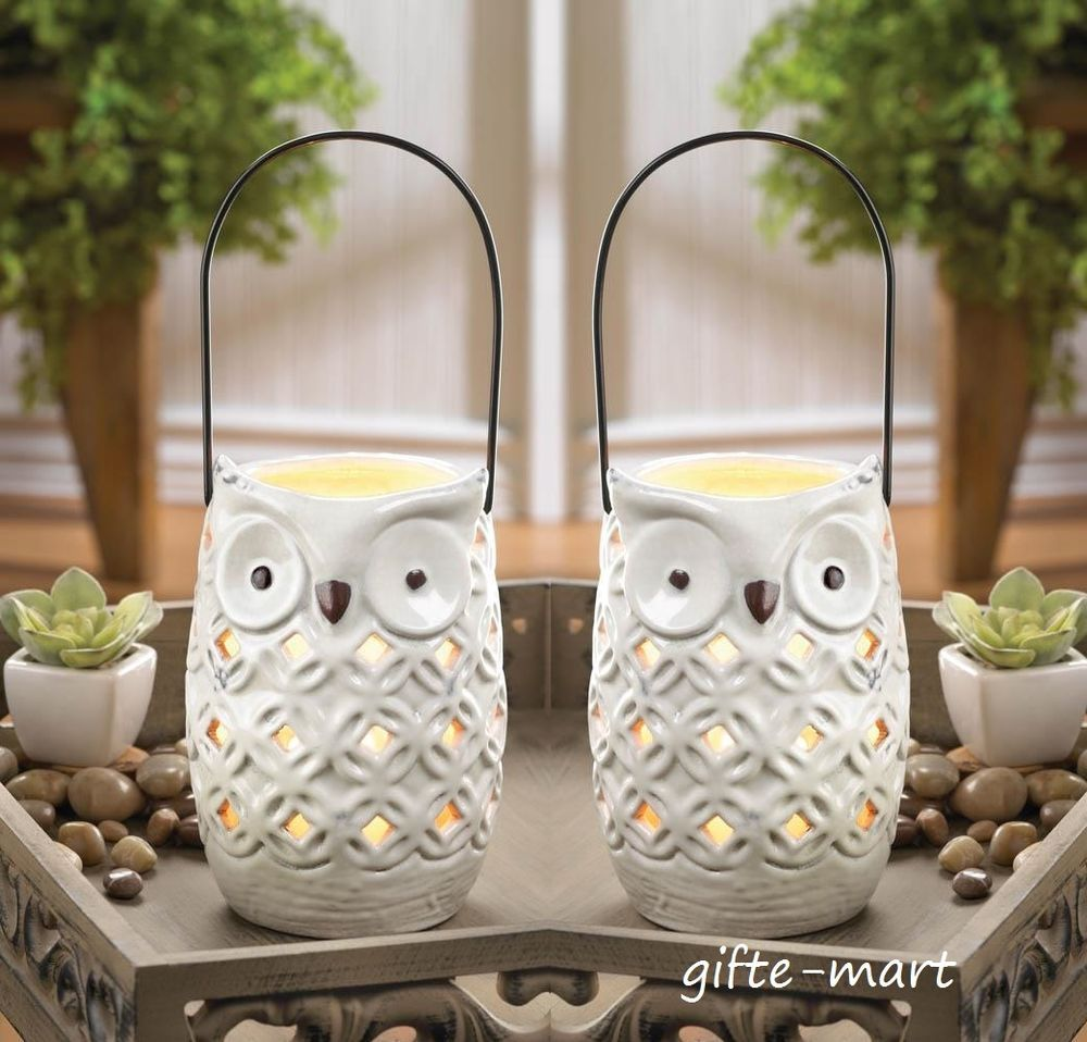 2 Punched Ceramic White Owl Candle Holder Statue Outdoor Lantern Light Luminary Owl Candle Holder Owl Candle Owl Decor