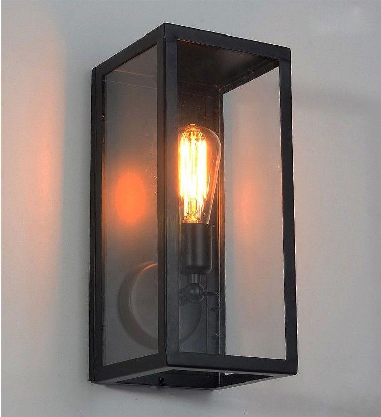 Aliexpress Com Buy Wall Sconce Clear Class Cover Outdoor Wall Light Metal Frame Glass Wall Lamp Lighting Fixtu Wall Lamp Wall Lights Wall Mount Light Fixture