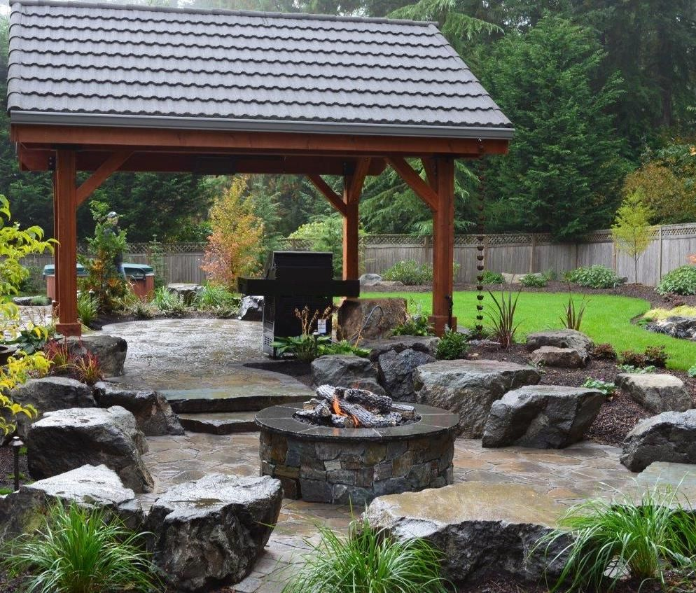 paver patio with gas fire pit. Exterior, Paver Patio With Gas Fire Pit And Covered Grill Pergola Solid Roof Grey Singles Backyard Design Idea Decorative Rock Stone For C