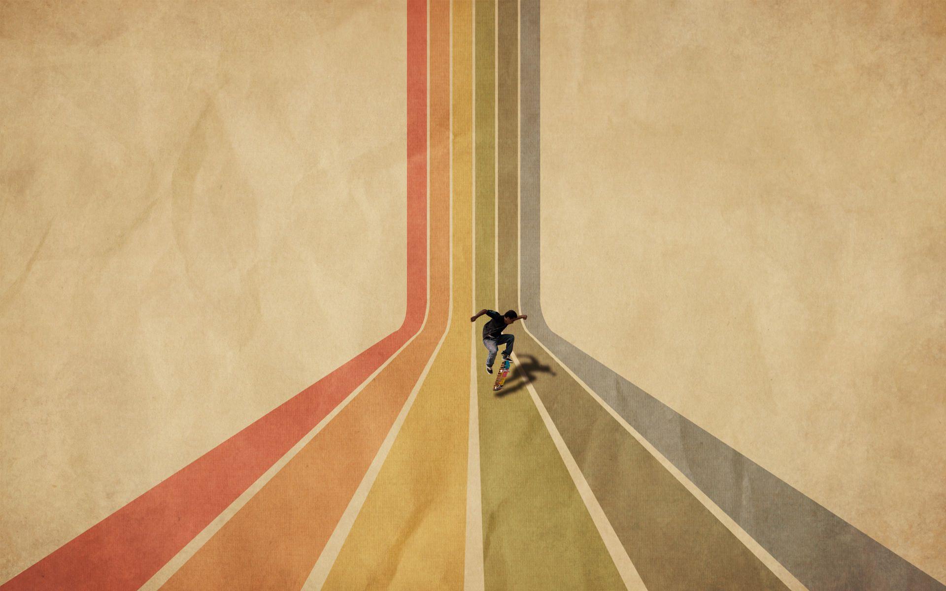 Retro Rainbow Stripes Wallpaper Supercolortuts Vintage Desktop Wallpapers Clouds Design Retro Wallpaper