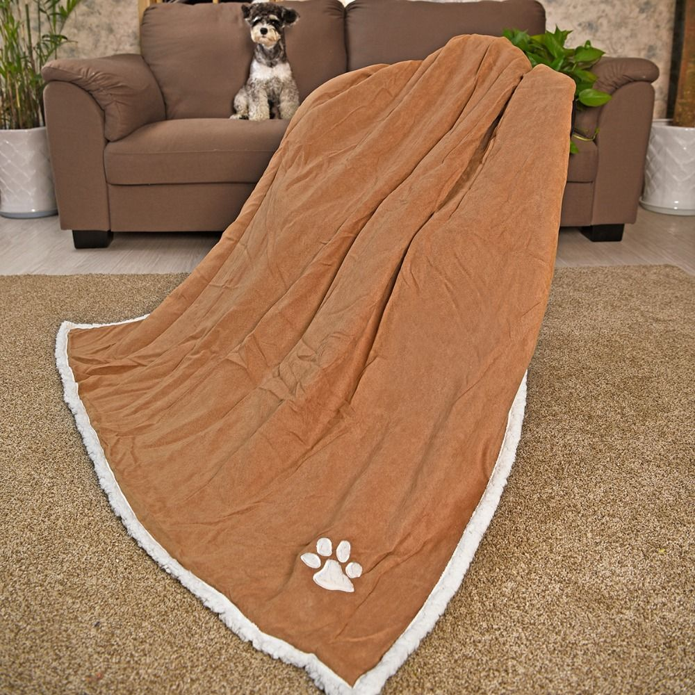Large pet dog highend blanket cozy soft footprints fleece pure