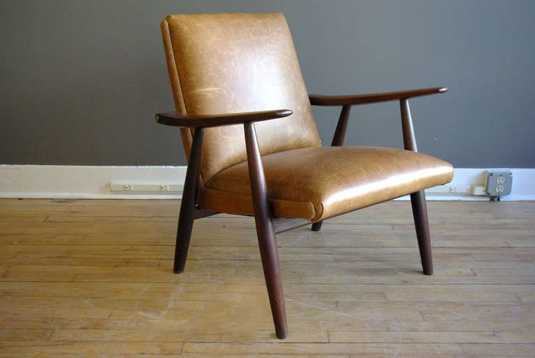 Hans Wegner Teak Lounge Chair With Leather Upholstery