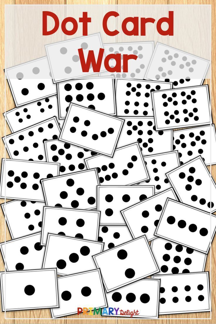 Dot card war game with images kindergarten math