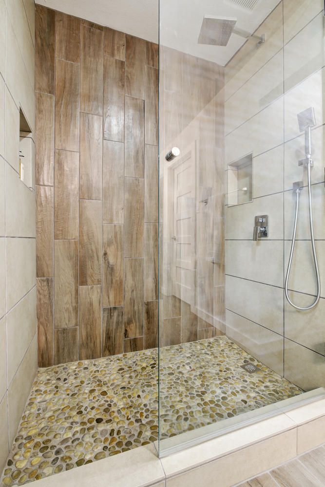 Awesome Master Shower Two Niches Rain Head Handheld Shower Heads River Rock Shower Floor Wood Tile Accent Wall Tile Accent Wall Bathroom Beautiful Tile