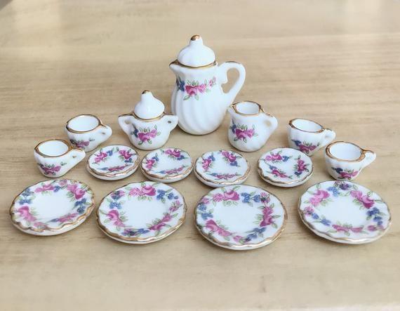Miniature Tea Set, Dollhouse Tea Set,Mini Tea Pot,Miniature Coffee Set,Dollhouse Tea Pot,Miniature F #teapotset
