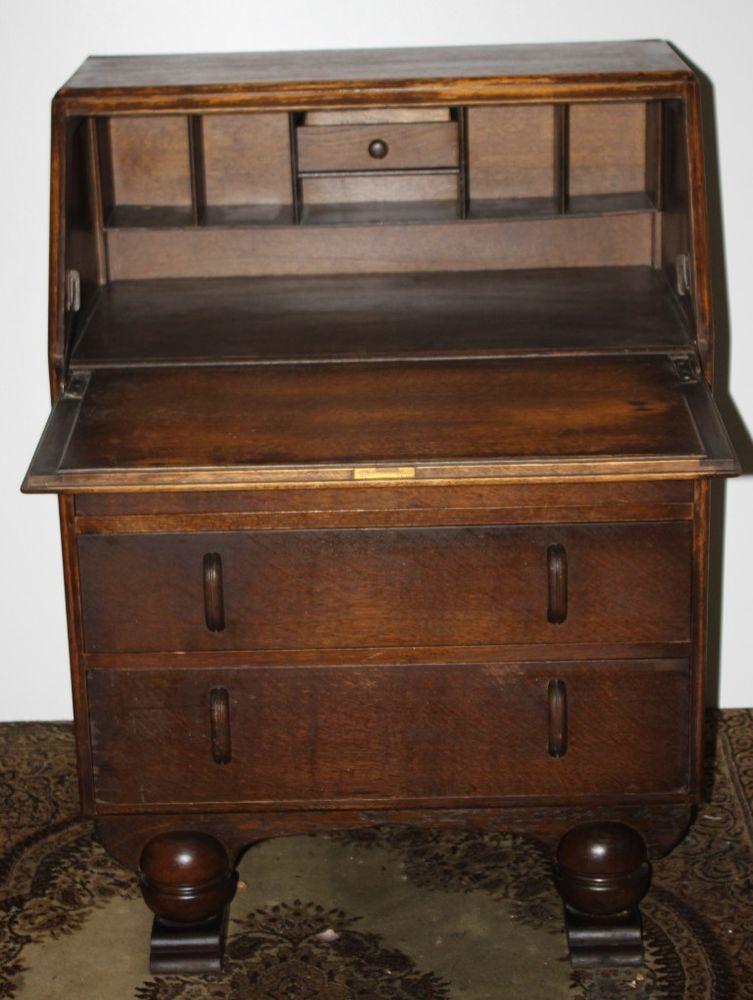 Antique Art Deco Jentique Carved Oak Bureau Desk 1930s Free Delivery Pl719 Bedroom For Girls Kids Vintage Dressers Diy Dollhouse