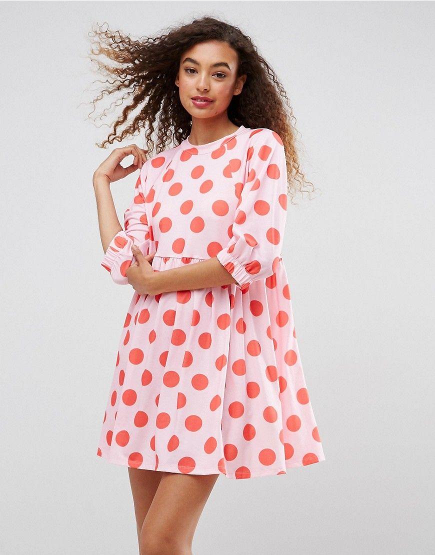 ASOS Polka Dot Smock Dress With Elastic Cuff Detail - Multi | Shop ...