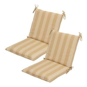 Hampton Bay Roux Stripe Mid Back Outdoor Chair Cushion 2 Pack Discontinued 7410 02001600 The Home Depot Outdoor Chair Cushions Chair Cushions Patio Cushions