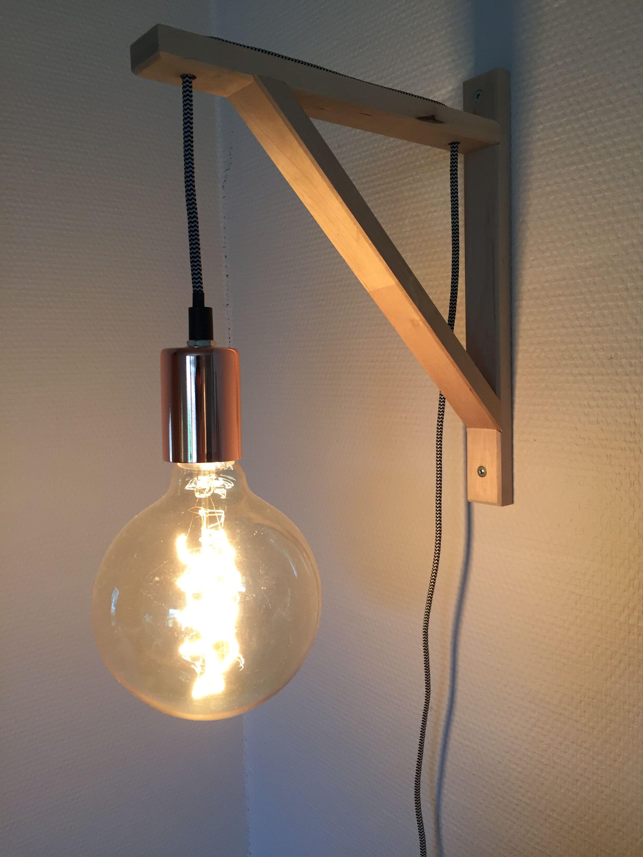 Ikea Diy Lampe Af Ekby Hyldekonsol Og Rema1000 Lampefatning