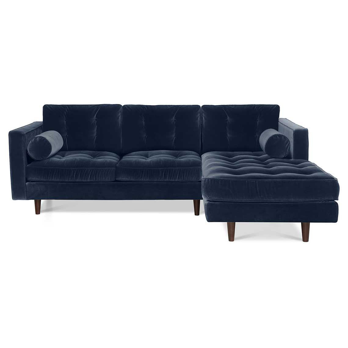 Copenhagen 2 Seat Velvet Modular Sofa With Right Chaise