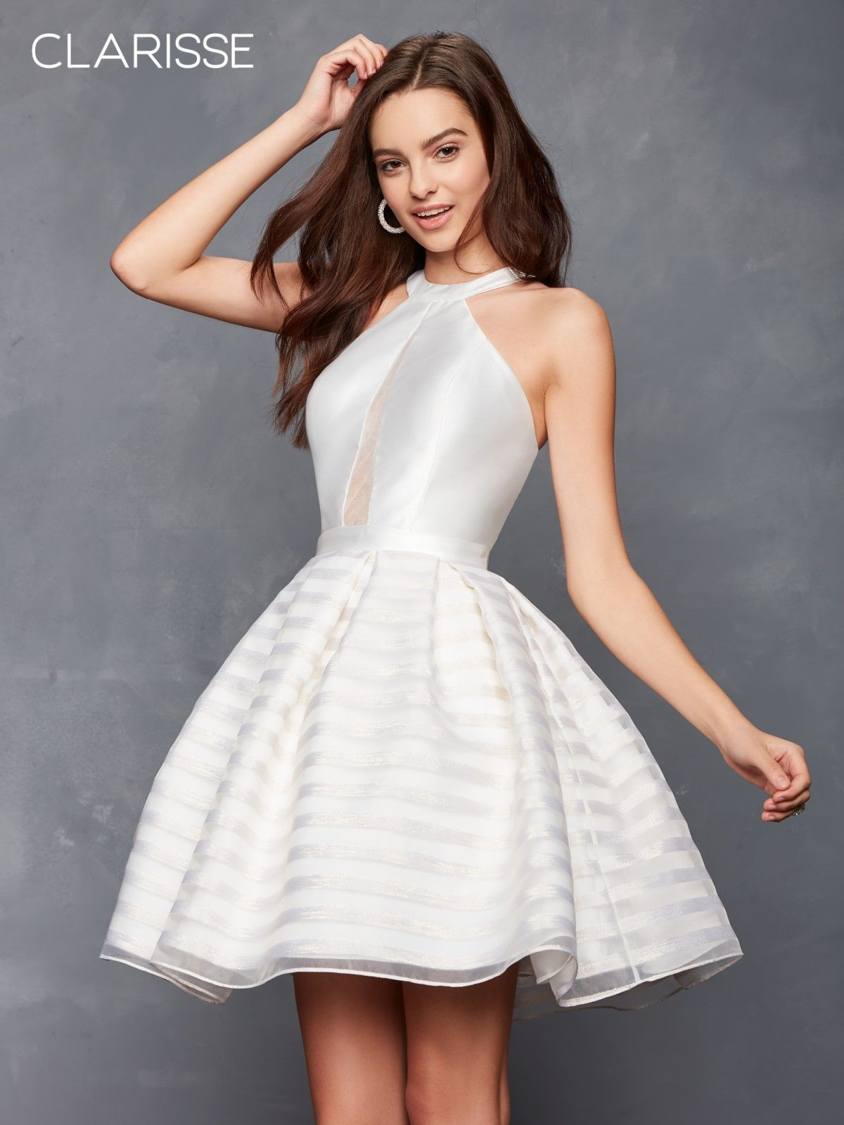 Striped halter short dress colors homecoming