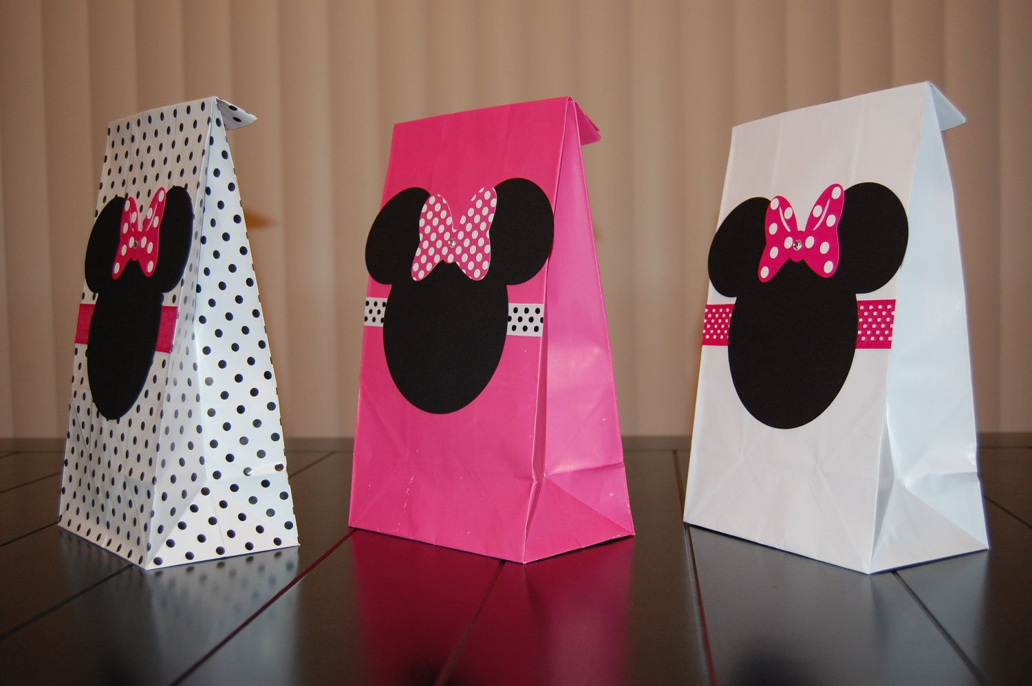 Minnie Mouse Favor Bags Pink White And Polka By Keepsaketoppers 13 00 For 10