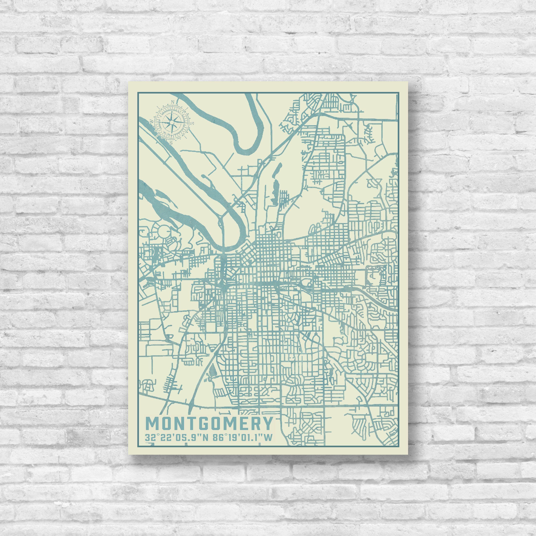 Montgomery, Alabama, City Map, Map Print, Montgomery Map, Montgomery ...