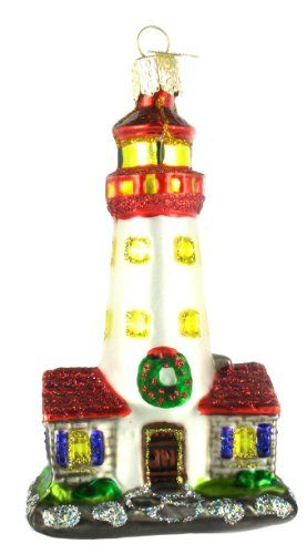 old world christmas lighthouse glass blown ornament - Christmas Lighthouse Decorations