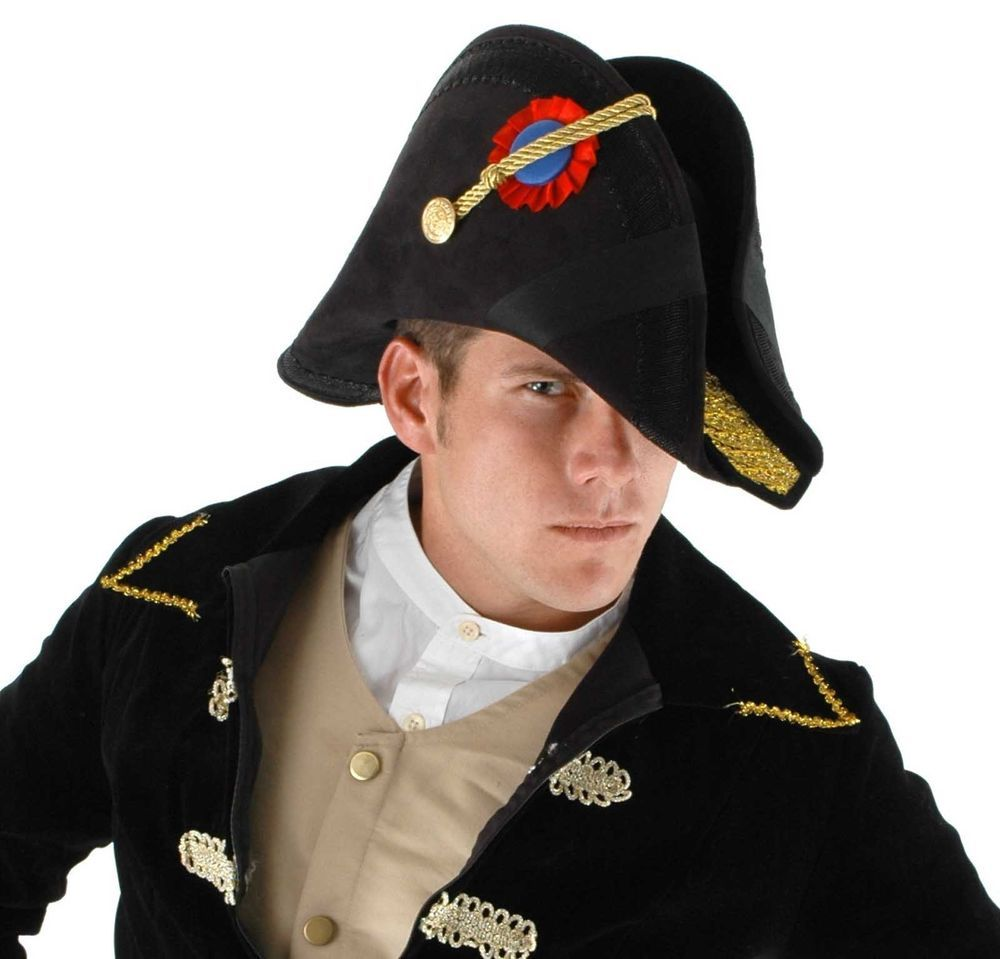 57d1ae922f7 Admiral Bicorn Nautical Military Captain HAT Naval Officer General Costume  Black