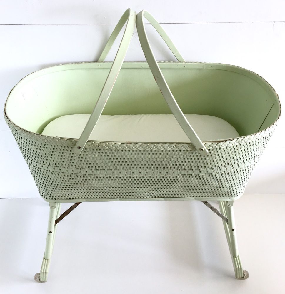 Frugal Vintage Wooden Rocking Baby Cradle/bassinet Nursery Furniture