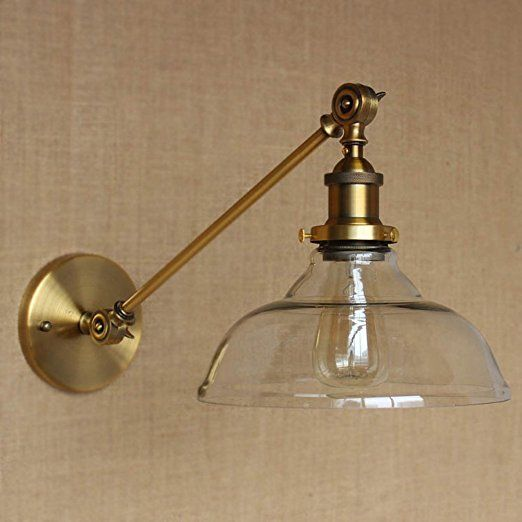 Susuo lighting vintage country style clear glass shade wall swing susuo lighting vintage country style clear glass shade wall swing arm lamp wall sconces antique gold mozeypictures Image collections