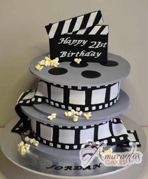 Two Tier Film Reel Birthday Cake