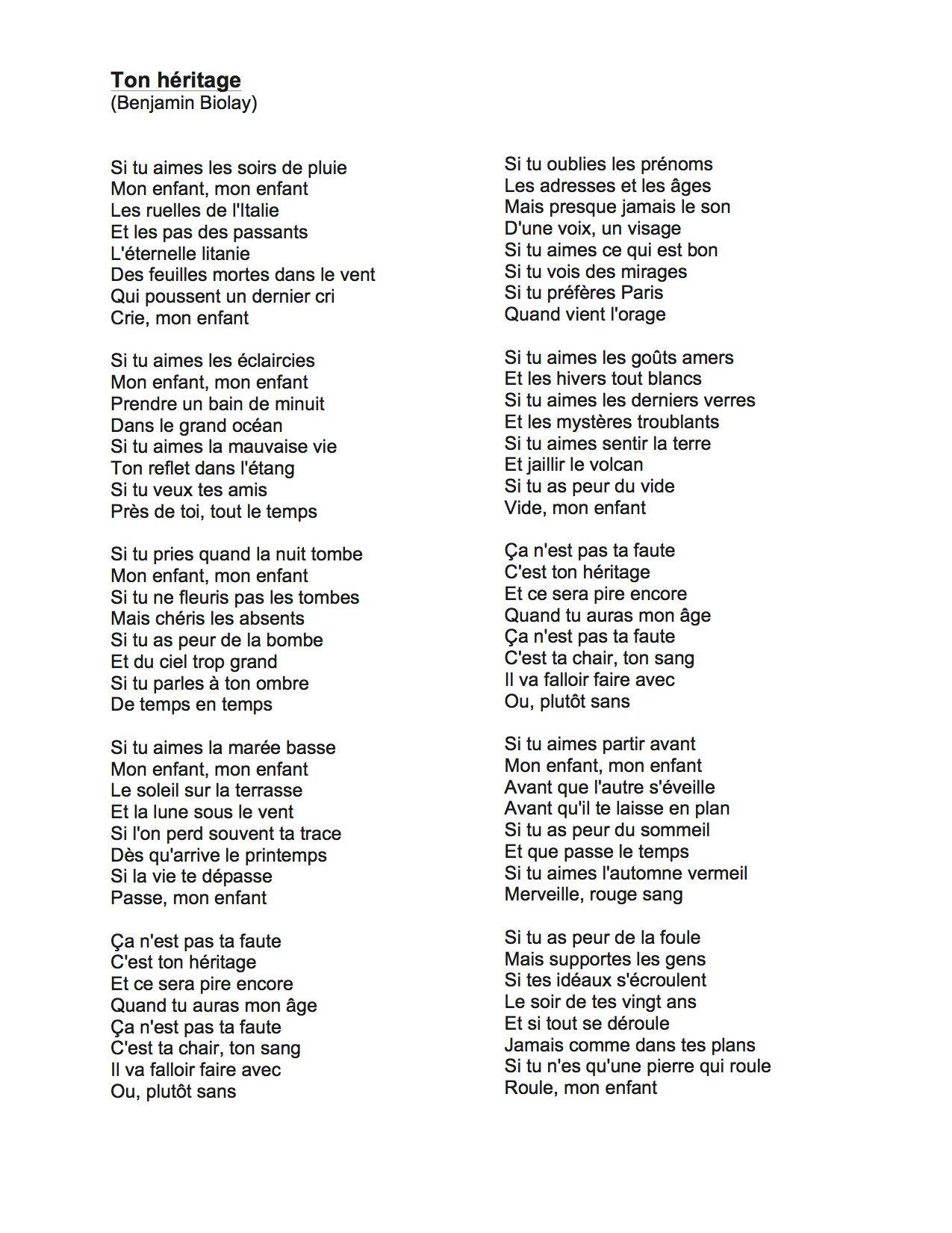 Benjamin biolay ton h ritage citations pinterest for Dans banga paroles