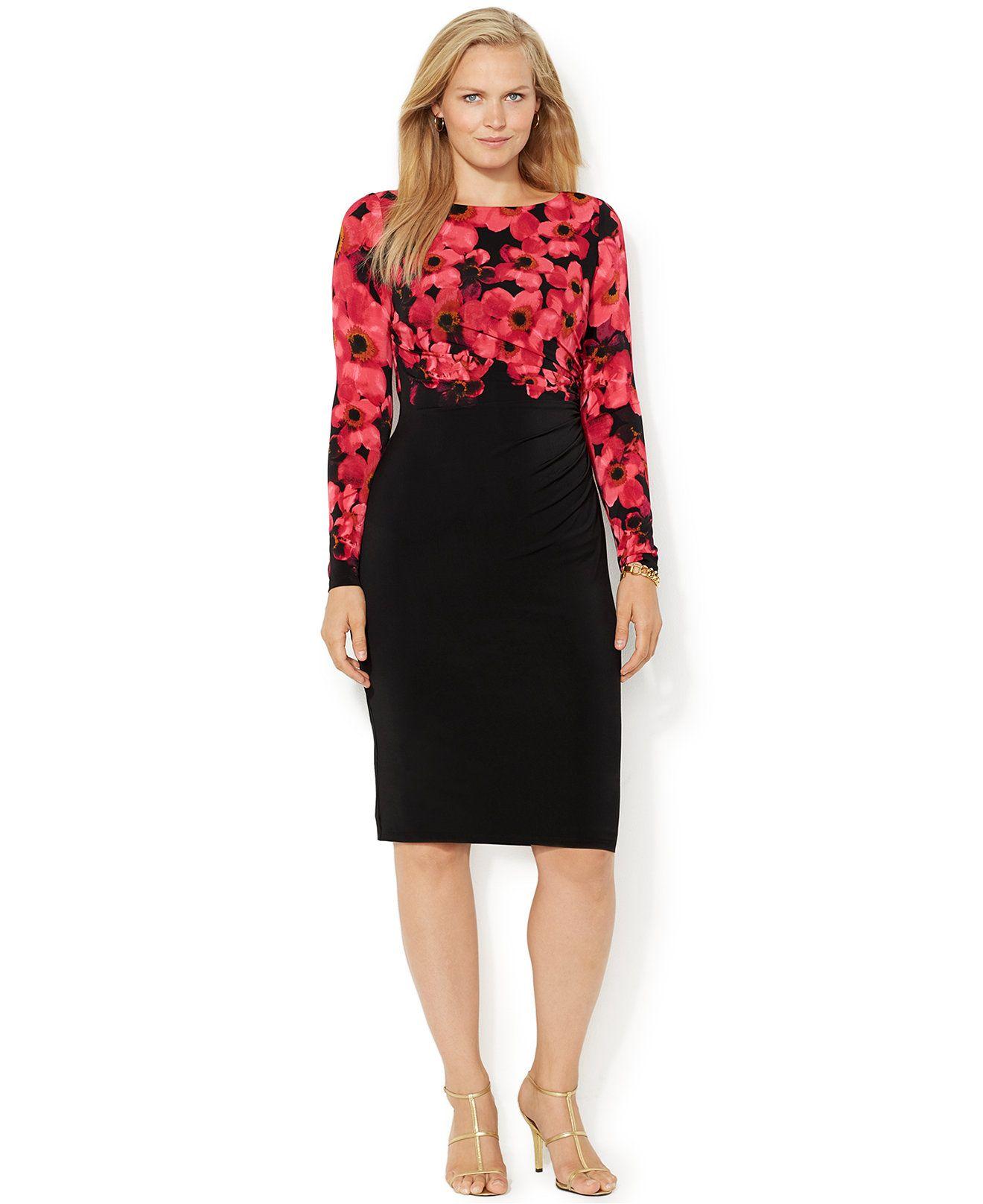 Lauren ralph lauren floralprint colorblocked dress