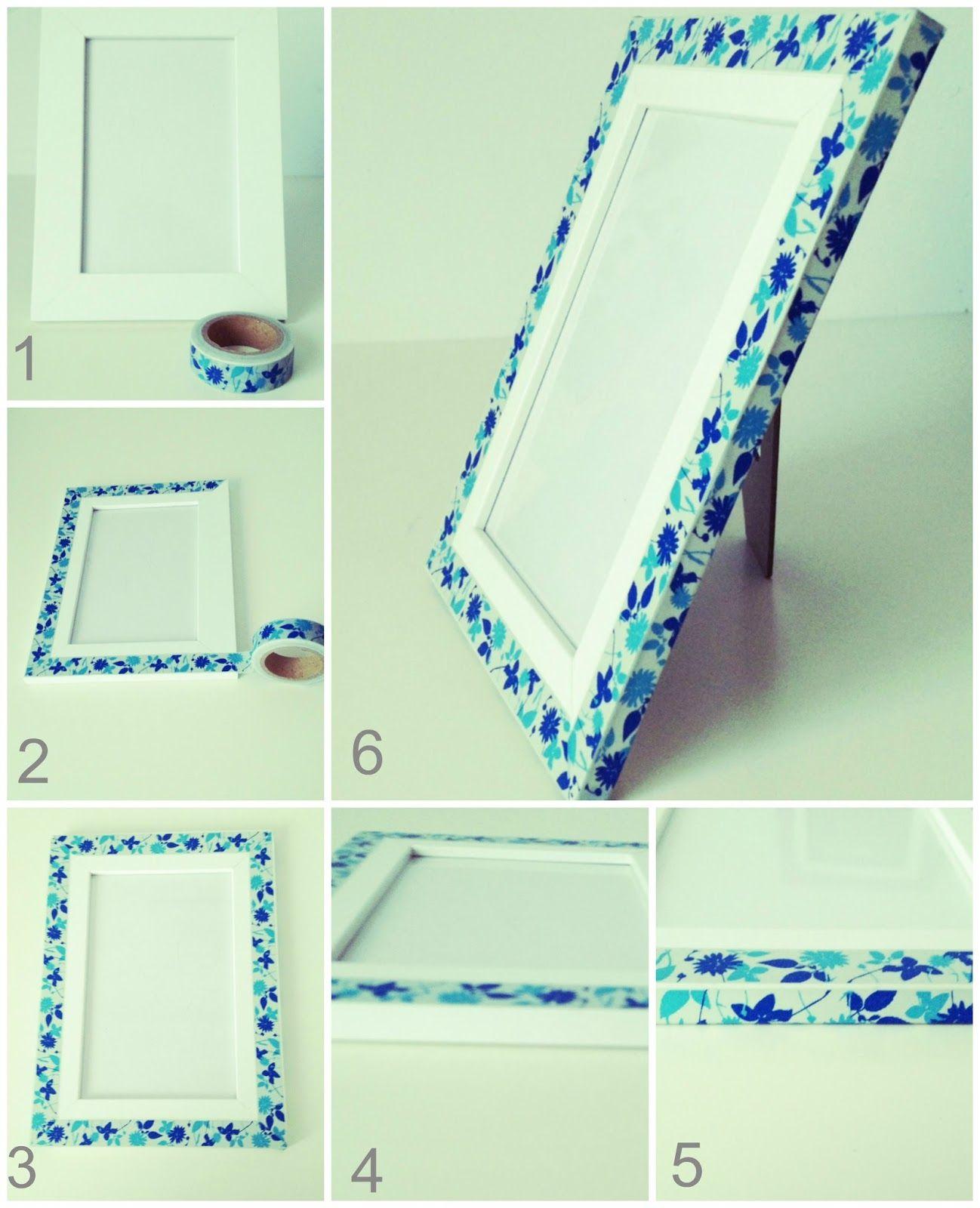 DIY: Decorar un marco con washi tape. http://1001tardes.blogspot.com.es/2014/05/diy-decorar-un-marco-con-washi-tape.html