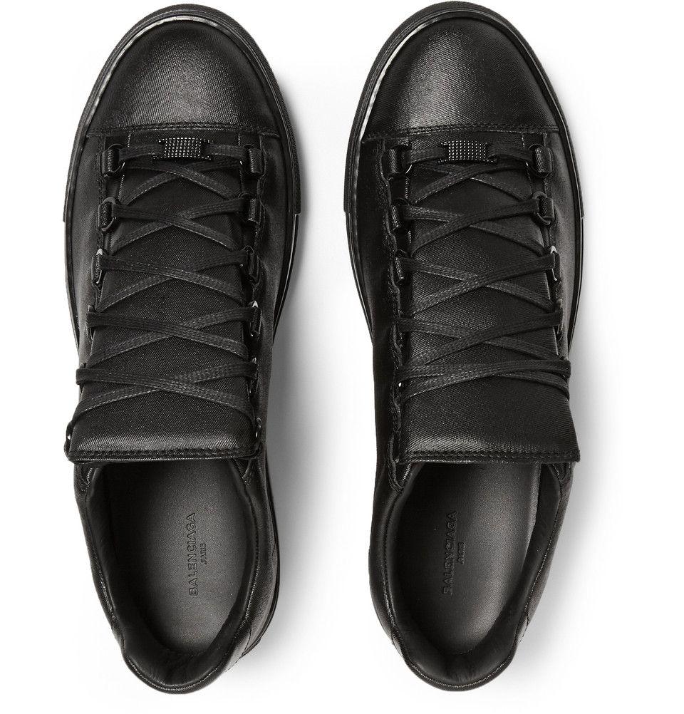 9e95a76838 Balenciaga - Arena Denim-Effect Leather Sneakers | MR PORTER | Kicks ...