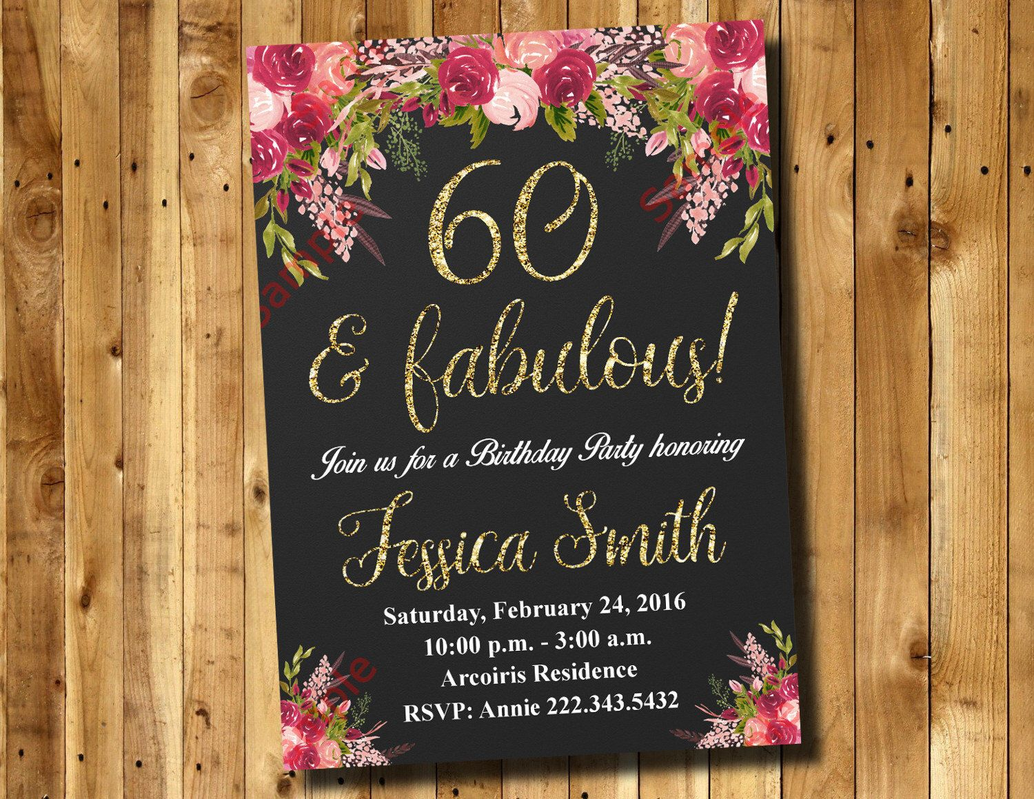 60th Birthday Invitation - Watercolor Flowers Invitation - Floral ...