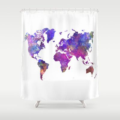 World Map In Watercolor Shower Curtain Art Unique Shower