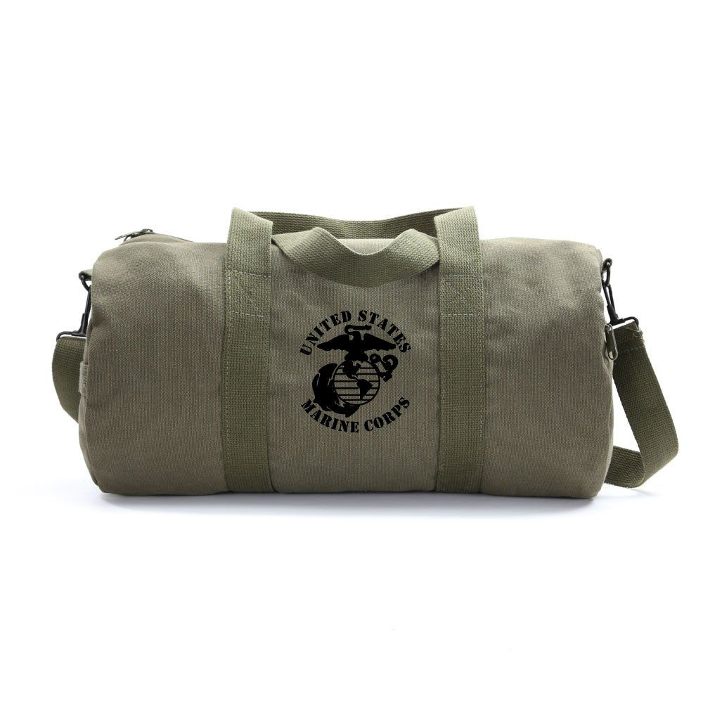 25cf04ed1d United States Marine Corps Army Sport Heavyweight Canvas Duffel Bag in  Olive and Black Medium