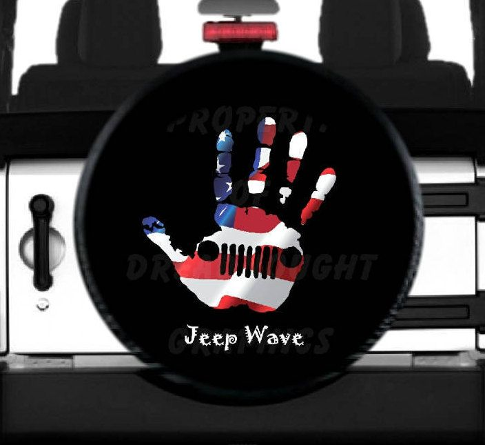 Jeep Wave American Flag Spare Tire Cover By Jeeptirecovers On Etsy
