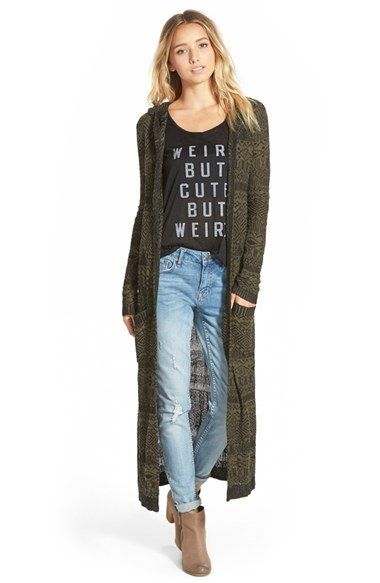 Green long cardigan with black t shirt and blue skinny jeans ...