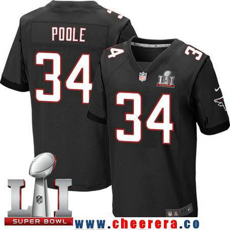 Men's Atlanta Falcons #34 Brian Poole Black Alternate 2017 Super Bowl LI Patch Stitched NFL Nike Elite Jersey