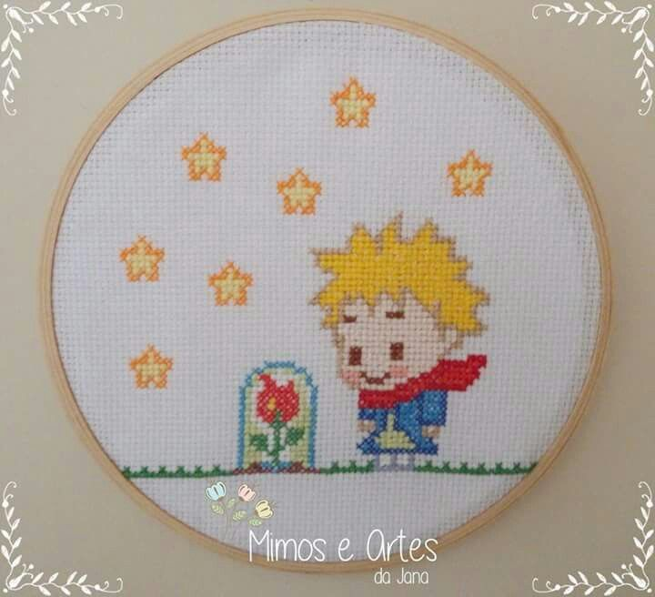 Quadrinho Bastidor Ponto Cruz O Pequeno Príncipe